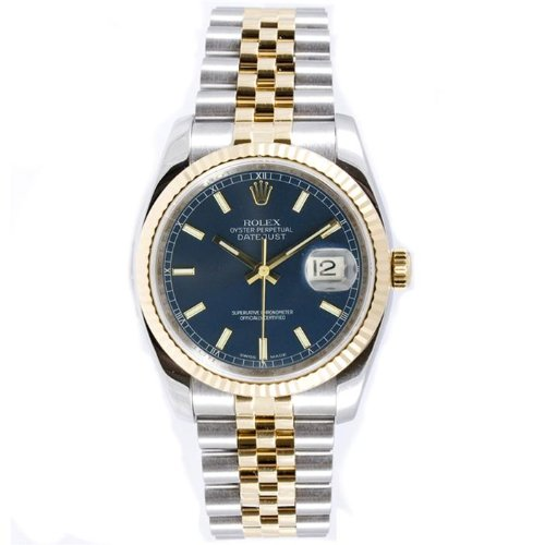 Rolex Mens New Style Heavy Band Stainless Steel & 18K Gold Datejust Model 116233 Jubilee Band Fluted Bezel Blue Stick Dial