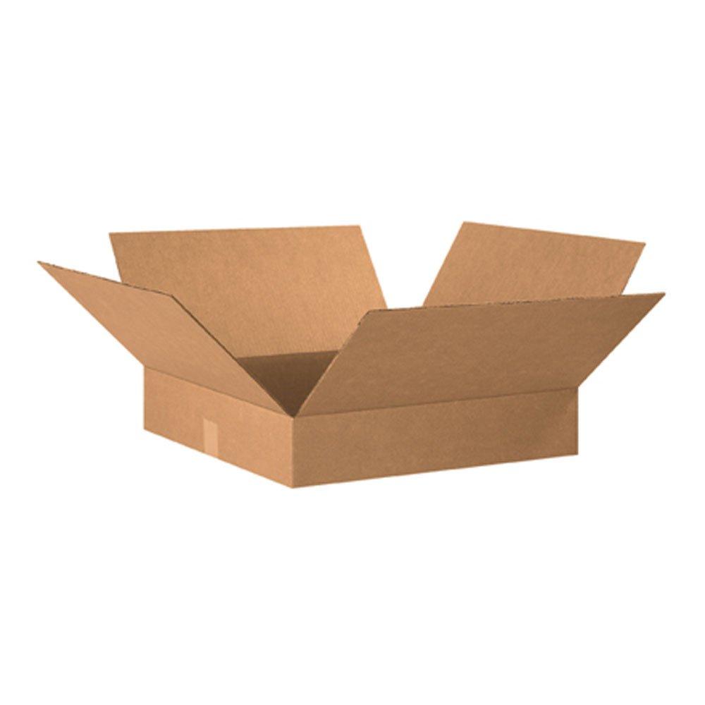 Aviditi 20204 Flat Corrugated Box, 20'' Length x 20'' Width x 4'' Height, Kraft (Bundle of 10)