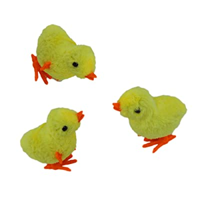 NOVELTY GIANT WWW.NOVELTYGIANT.COM Wind Up Jumping Chicken Easter Egg Yellow Baby Chick 3 Pk: Toys & Games