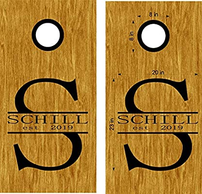Custom text circles cornhole board game vinyl graphic decals choose size color