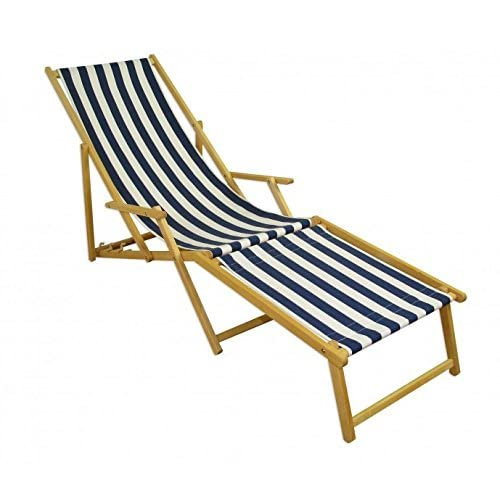 10–317N F Chaise longue clair avec repose pieds chaise longue bain de soleil chaise longue de jardin Bleu/Blanc