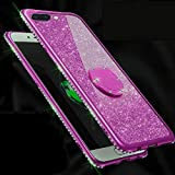 Amocase Glitter Case with 2 in 1 Stylus for Samsung Galaxy Note 9,Luxury Girly 3D Diamond Bling Crystal Soft Silicone Rubber Clear Cover Case with 360 Ring Stand Holder - Purple