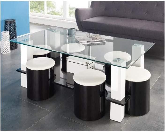 basse6 Table BODEGA cm 130 poufs noir TKlF3u1Jc5
