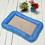 S Ice Silk Puppy Dog Cat Pet Sleep Seat Bed Summer Cooling Gel Cushion Pad Mat (blue)