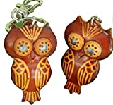 A Pair (2 Pieces)of Genuine Leather Keychain/bag-charm, Savvy Owl Pattern, Brown