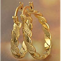 jindarat Classic 9K Yellow Solid Gold Filled Womens Braided Hoop Earrings,Z1905