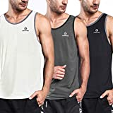 Ogeenier Men's Training Quick-Dry Sports Tank Top Shirt for Gym Fitness Bodybuilding Running Jogging 3 Pack