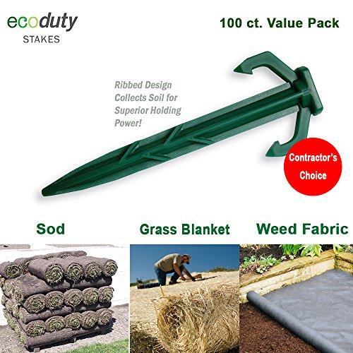 Ecoduty 100 ct. Contractor Grade 4 Inch Biodegradable Stakes, Sod staples For Securing Weed Fabric, Landscape Fabric, Netting, and Blanket by Ecoduty