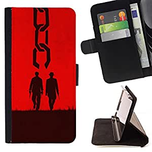 For Samsung Galaxy S6 Active G890A Case , Due uomini occidentali - la tarjeta de Crédito Slots PU Funda de cuero Monedero caso cubierta de piel