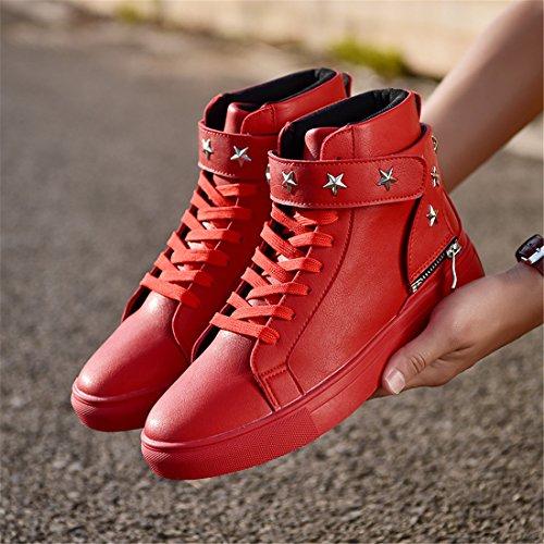 Uomo Outdoor Sport Running Scarpe Da Trekking Leggero Casual Sneakers Ea10 Rosso