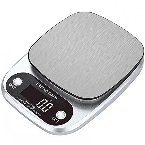 Oldeagle Silver Digital Balance Slim Stainless Steel Electronic Scales Kitchen Tool (A)