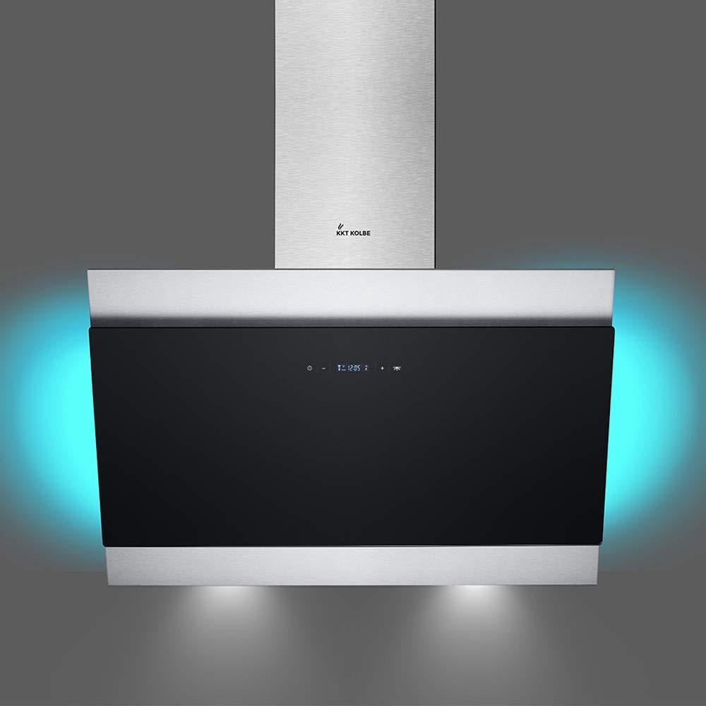 KKT KOLBE 90cm, acier inoxydable, verre noir, extra silencieux, 605m/³//h, 4 /étapes, /éclairage LED RVB, touches sensitives TouchSelect, d/ébordement automatique BICOLORE907SM Hotte aspirante murale