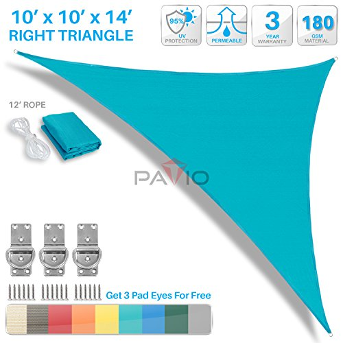 Patio Paradise 10' x 10' x 14.1' Turquoise Green Sun Shade Sail Right Triangle Canopy - Permeable UV Block Fabric Durable Outdoor - Customized (Turquoise Triangle)