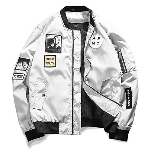 AITFINEISM Classic Slim Fit Bomber Jacket Men Windbreakers with Patches (XL-Large, Grey) ()