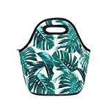 Jumppmile Tropical Leave Neoprene Lunch Bag Insulated Lunch Box Tote for Women Men Kids Teens Boys Teenage Girls