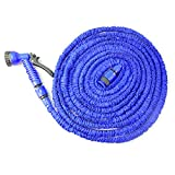 Hotenergy Expandable Hose Expanding with Spray Nozzle, No Kinking, Flexible, Lightweight, Super Strong, As Seen On TV, Shrinking Hose, Flexable Hose, Expands to 3 Times it's Original Length, Water Garden, Plants, Grass, No Tangle, Twist, Kink, Expands and Contracts, Auto, Car, Boat, Dock (Blue 50FT)