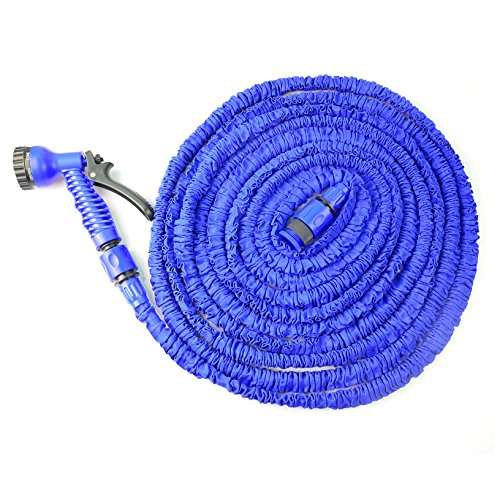 Hotenergy Expandable Hose Expanding with Spray Nozzle, No Kinking, Flexible, Lightweight, Super Strong, As Seen On TV, Shrinking Hose, Flexable Hose, Expands to 3 Times it's Original Length, Water Garden, Plants, Grass, No Tangle, Twist, Kink, Expands and Contracts, Auto, Car, Boat, Dock (Blue 75FT)