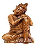 16'' Wooden Serene Sleeping Buddha Statue Hand Carved Figurine Home Decor (Large)