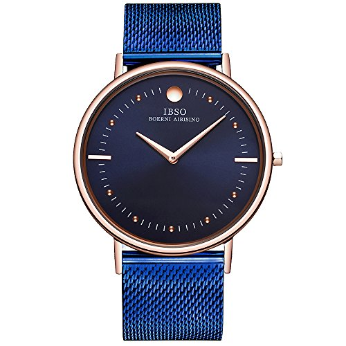 Slim Swiss Watch - IBSO Men's Watches Super Slim Quartz Casual Wristwatch Ultra Thin Business Analog Wrist Watch (Blue Stainless)