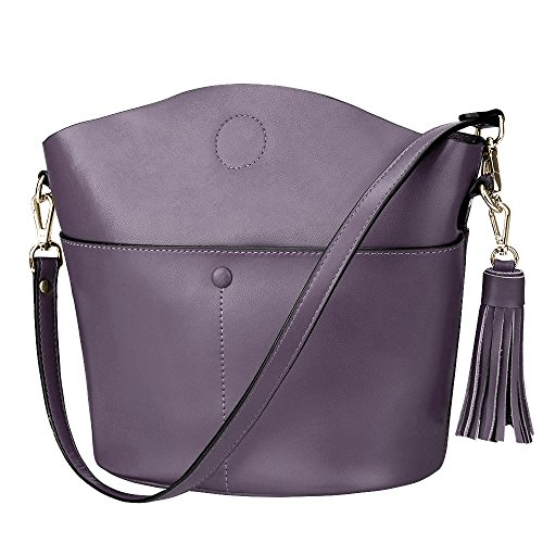 S-ZONE Women's Cowhide Genuine Leather Small Purse Handbag Crossbody Shoulder Bag Upgraded Version (Light Purple) ()