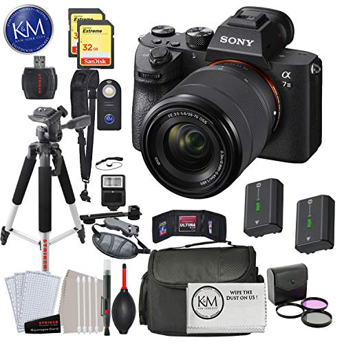 Sony Alpha a7 III Mirrorless Digital Camera with 28-70mm Lens with Deluxe Striker Bundle: Includes – Memory Cards, Large Tripod, Camera Bag, FilterSet, Extra Battery, Cleaning Kit, and More