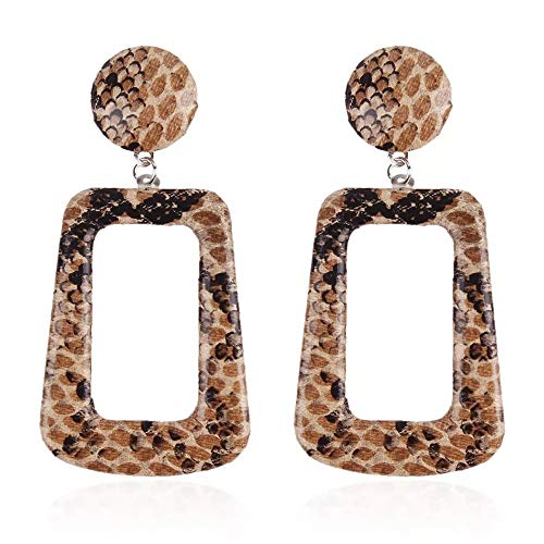 Square Pattern Dangle Earrings Fashion Wild Earrings Ladies Jewelry Accessories (Brown)