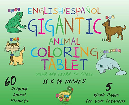 Debra Dale Designs Gigantic Animal Bilingual Coloring Book for Kids Crayola Large Washable Crayons - Great Birthday/Holiday Gift Package - Toddlers and their Parents LOVE this Coloring Set!