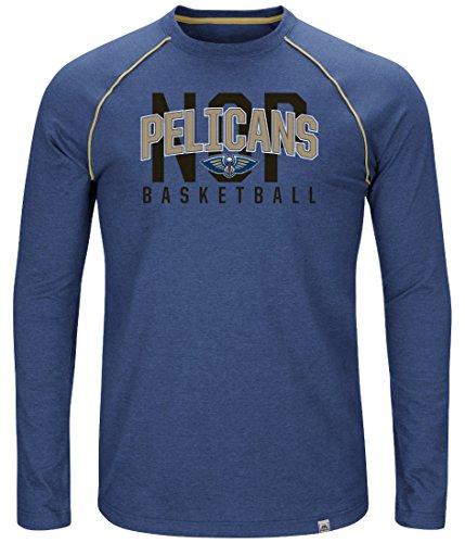 (Majestic New Orleans Pelicans NBA Hit The Mark Men's Tri-Blend L/S T-Shirt)