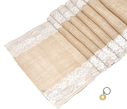 Mandala Crafts 108 Inch Natural Burlap Country Rustic Table Runner for Wedding Shower Banquet Holiday Themed Party (Lace Ribbon Edge, 1) ()