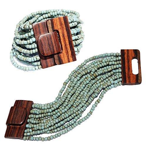 Rustic Turquoise Ethnic Beaded Bali Bracelet w/ Dense Hardwood Buckle Clasp - 14 Elastic Strands (Wood Wooden Bracelets)
