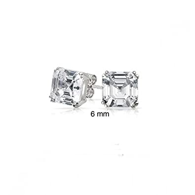 7820c6f8ee388 Classic Simple Square Cubic Zirconia Colorless Asscher Cut CZ Stud Earrings  925 Sterling Silver 6mm