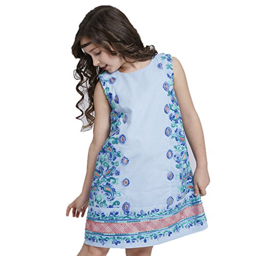 DXdesign Flower Tulle Girls Dress Party Wedding Princess Sundress (8, Blue)