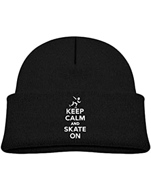 Warm Keep Calm and Skate On Printed Baby Boy Girls Winter Hat Beanie