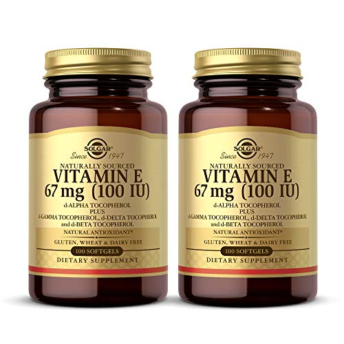 Solgar Vitamin E 67 mg (100 IU), 100 Mixed Softgels – Pack of 2 – Natural Antioxidant, Skin & Immune System Support…