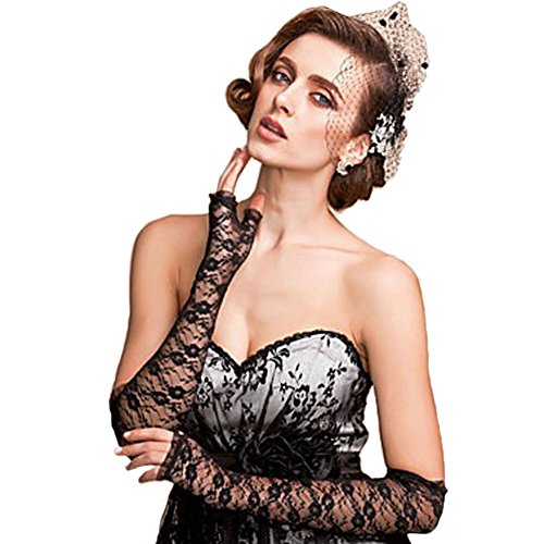 Vimans Black Evening Gloves Elbow Length Lace Fingerless for Dress Evening 2016