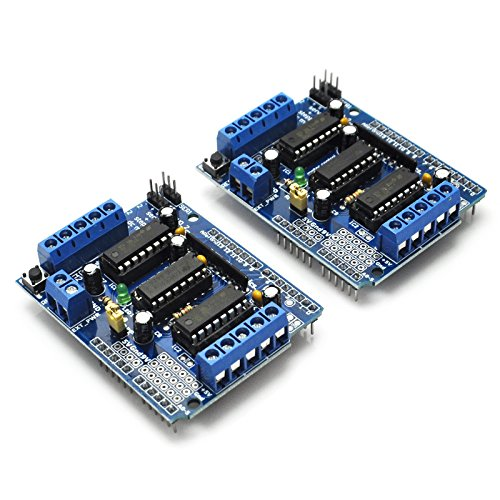 Gikfun L293D Motor Driver Shield Duemilanove Mega UNO R3 AVR ATMEL for Arduino + 12Pin Male to Female Jumper Wire for Dupont DIY Kit (Pack of 2pcs) EK8474