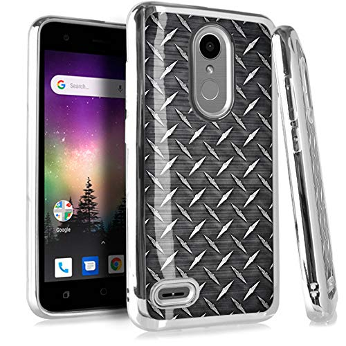 (Compatible LG Aristo 2 X210 | Tribute Dynasty | K8 (2018) | Fortune 2 | Zone 4 | Risio 3 Case Electroplated Chrome TPU Brushed Textured Hybrid Phone Cover (Black Metal Crosshatch Print))