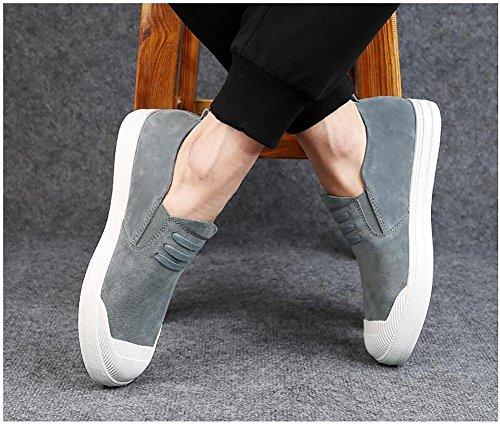 SYYAN Hombres Fregar Respirable Bajo Hecho A Mano Moda Zapatillas Al Aire Libre Ocio Grey