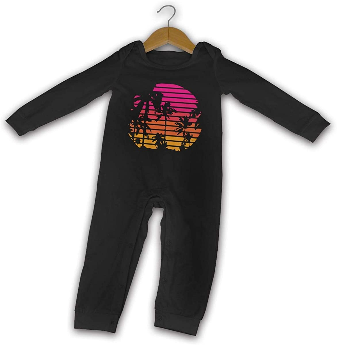 Palm Tree and Sunset Printed Baby Boys Girls Bodysuit Long Sleeve Pajamas Black