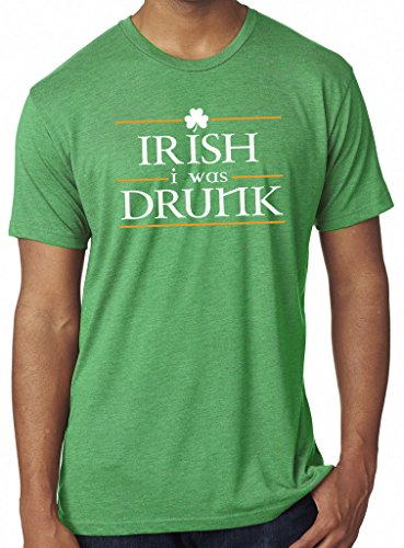 SoRock Men's St. Patrick's Day Irish I Was Drunk Tri Blend Tshirt Medium Green