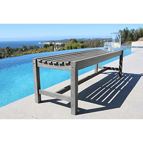 Vifah Renaissance Eco-Friendly 5-Foot Backless Outdoor Hand-Scraped Hardwood Garden Bench ()