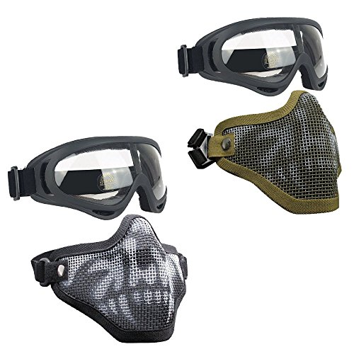 Infityle Airsoft Masks - Adjustable Half Metal Steel Mesh Face Mask and UV400 Goggles Set for Hunting, Paintball, Shooting (2 Set Black Skull+Tan Skull, 2 Set)
