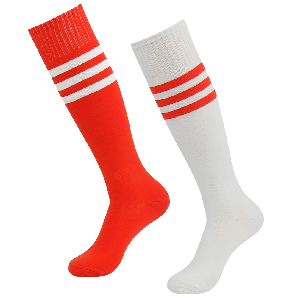 Long Soccer Socks, SUTTOS Mens and Womens Cushion Over Knee Length Moisture Wicking Breathable Football Tube Socks,2 Pairs-Red/White by SUTTOS