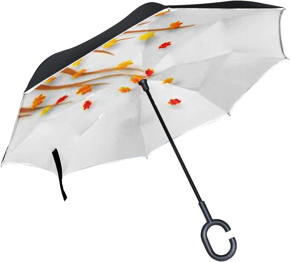 Double Layer Inverted Inverted Umbrella Is Light And Sturdy Illustration Autumn Maple Leaves Blowing Away Reverse Umbrella And Windproof Umbrella Edg