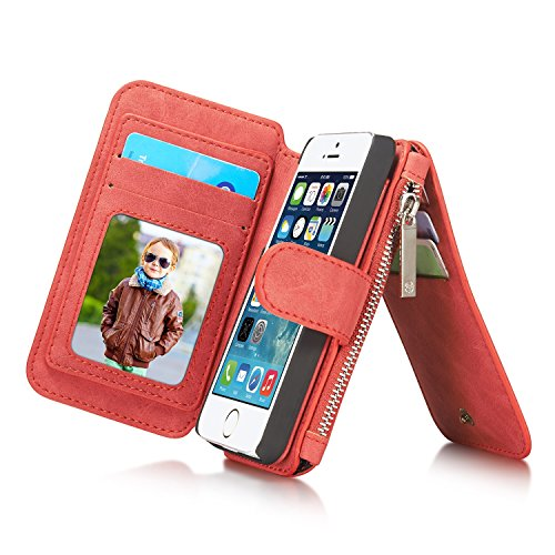 XHD-screen protector 2 in 1 Multi-functional Leather Handbag Zipper pocket Flip Folio leather wallet case for Apple iPhone 6/6S 4.7 Inch (Color : Red-Iphone5s/5se)