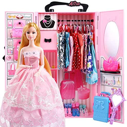 UCanaan Doll Closet Wardrobe for 11.5 Inch Girl Doll Clothes and Accessories Storage – Lot 51 Items Including Wardrobe, Trunk, Casual Wear, Dress, Swimsuits, Hangers, Shoes, Bags and Necklaces