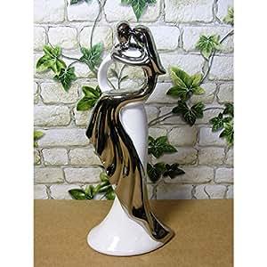 Escultura Danza Par De Mujer en vestido plateado pareja par cerámica 31cm blanco plata