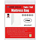 HOMEIDEAS 3 Mil Thick Mattress Bag for Moving and Storage, Not Clear Mattress Bag Protecting Mattress and Your Privacy, Pack of 2, Fits Twin/Full Size