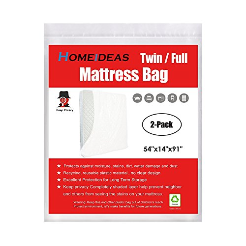 HOMEIDEAS 3 Mil Thick Mattress Bags for Moving and Storage, Not Clear Mattress Bag Protecting Mattress and Your Privacy, Pack of 2, Fits Twin/Full Size