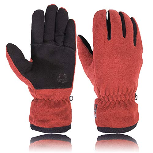 SKYDEER Winter Driving Gloves with Soft Deerskin Suede Leather and Warm Windproof Polar Fleece Fit for Women Boys and Girls (SD8663T/M) (Boys Leather Soft)
